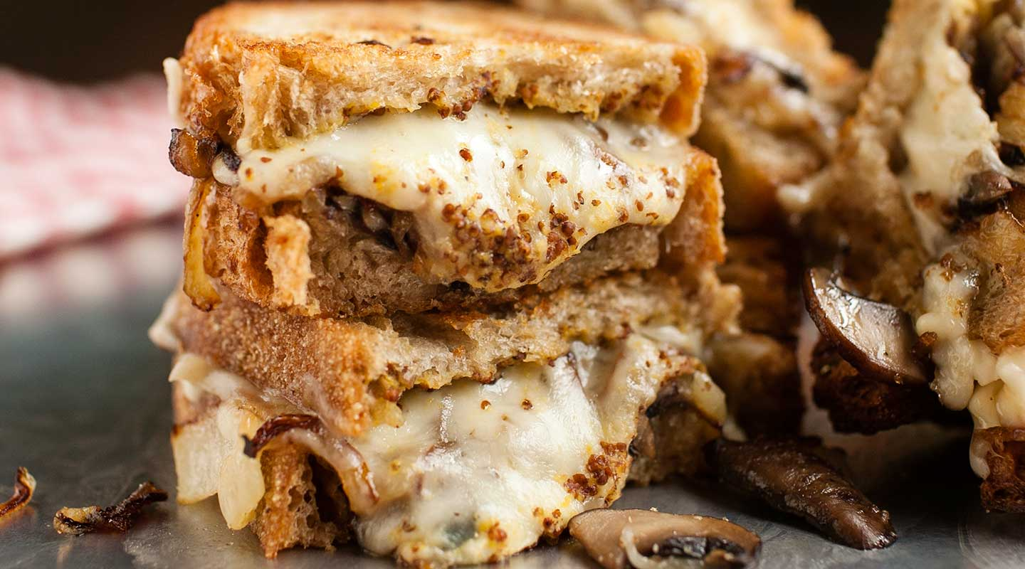 Wisconsin Cheese Mushroom, Onion and Brick Grilled Cheese Recipe