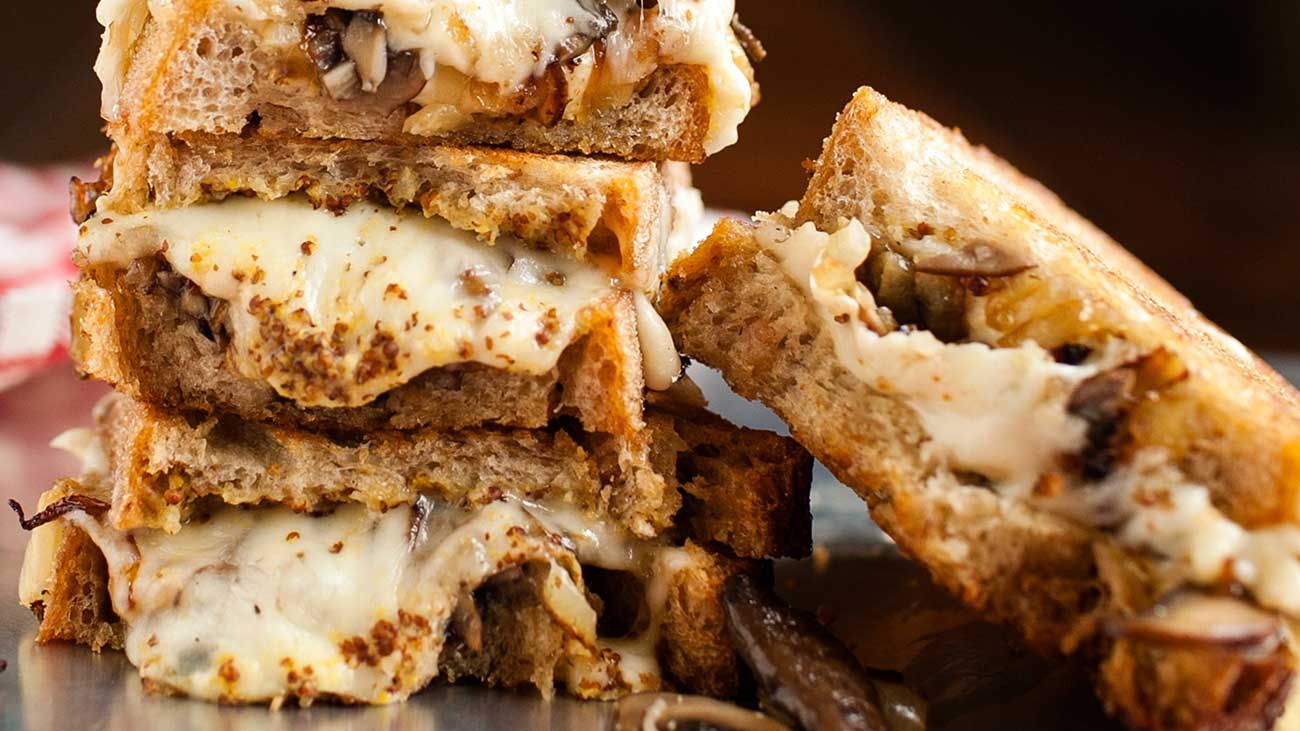 Mushroom, Onion and Brick Grilled Cheese