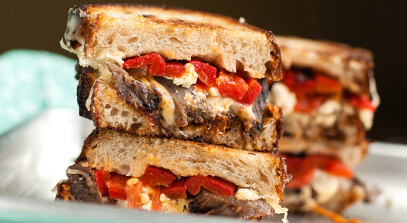 Steak and Roasted Red Pepper Grilled Cheese