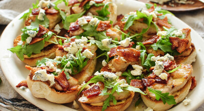 Sliders with Chicken, Bacon and Wisconsin Blue Cheese