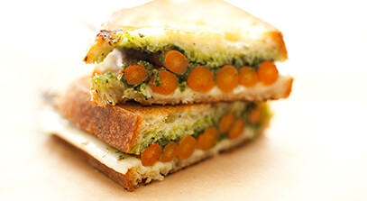 The Rosalie: Asiago Grilled Cheese with Roasted Carrots and Pesto