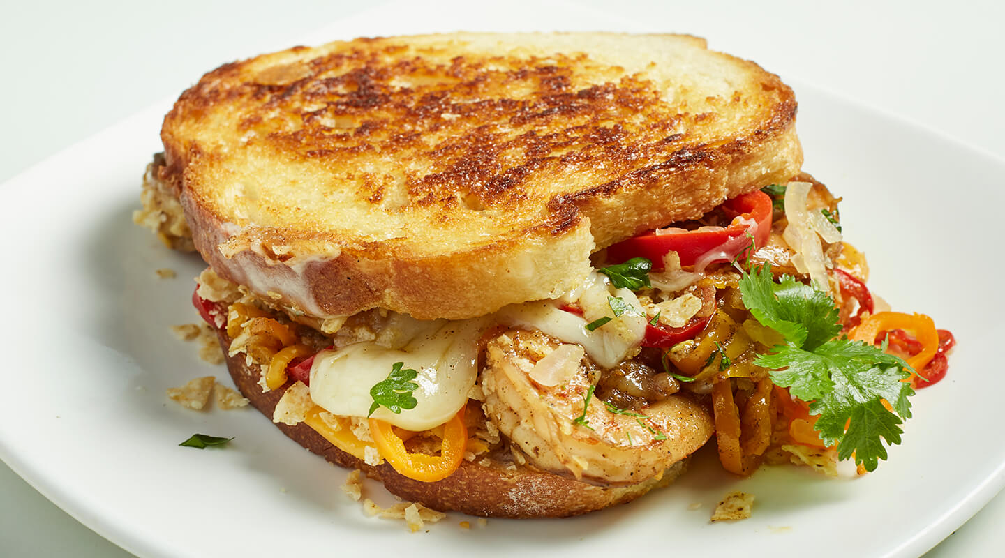 Wisconsin Cheese Shrimp Nacho Grilled Cheese Recipe