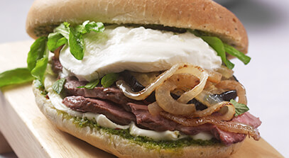 Roasted Lamb Sandwich with Mint Pesto and Burrata Cheese