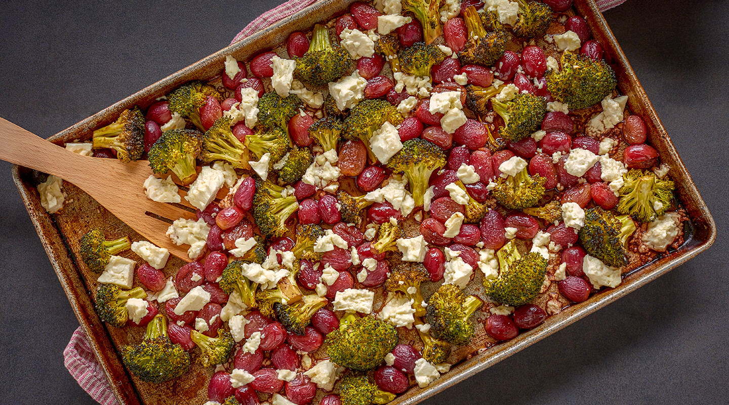 Wisconsin Cheese Roasted Grapes and Broccoli with Feta Recipe