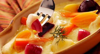 Raclette Cheese with Caraway Pickled Vegetables