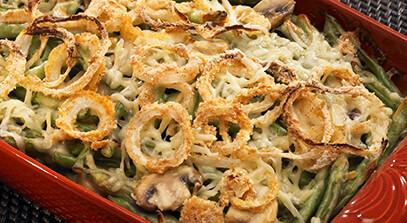 green bean casserole with spicy onion rings