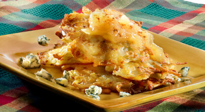 blue cheese potato pancakes with apple topping
