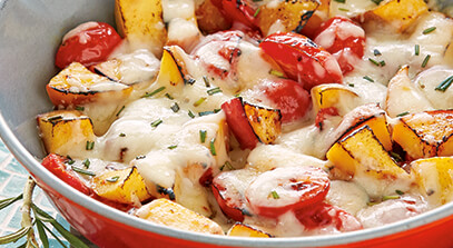 Grilled Tomatoes and Peaches with Fontina