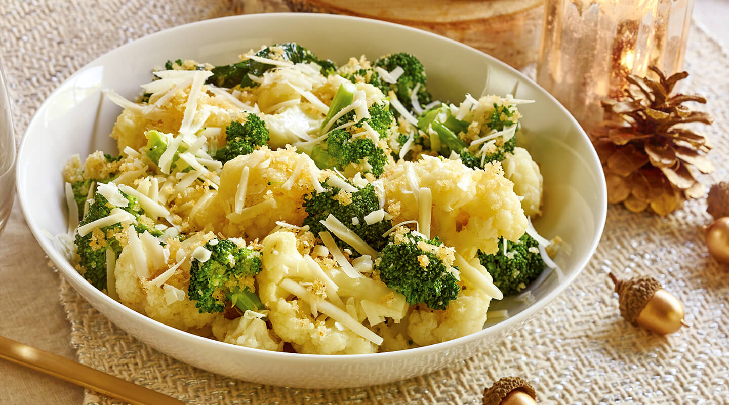 Wisconsin Cheese Broccoli and Cauliflower with Bread Crumbs and Romano Recipe
