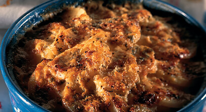 Potato Gratin with Sharp Cheddar and Blue Cheese