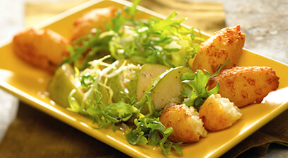 Cheese Fritters with Frisée and Pear