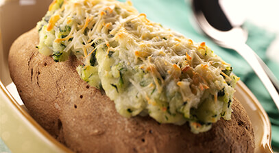 Twice-Baked Potatoes with Greens and Mascarpone