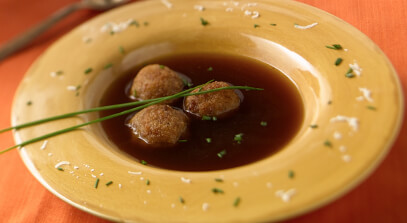 Caramelized Onion Soup Broth with Croquettes of Fontina and Asiago Cheeses