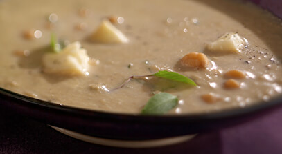 Chickpea and Grilled Eggplant Soup with Brie