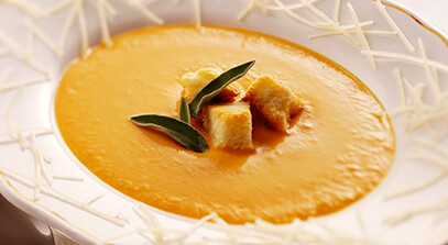 Sweet Potato Soup with Maple Brioche Croutons