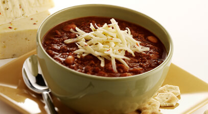 chili mole-style with pepper jack