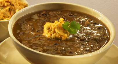 Easy Black Bean Soup with Cold Pack Garnish