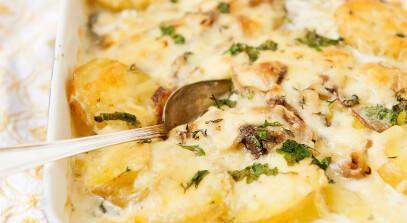 Potato, Onion and Mushroom Gratin