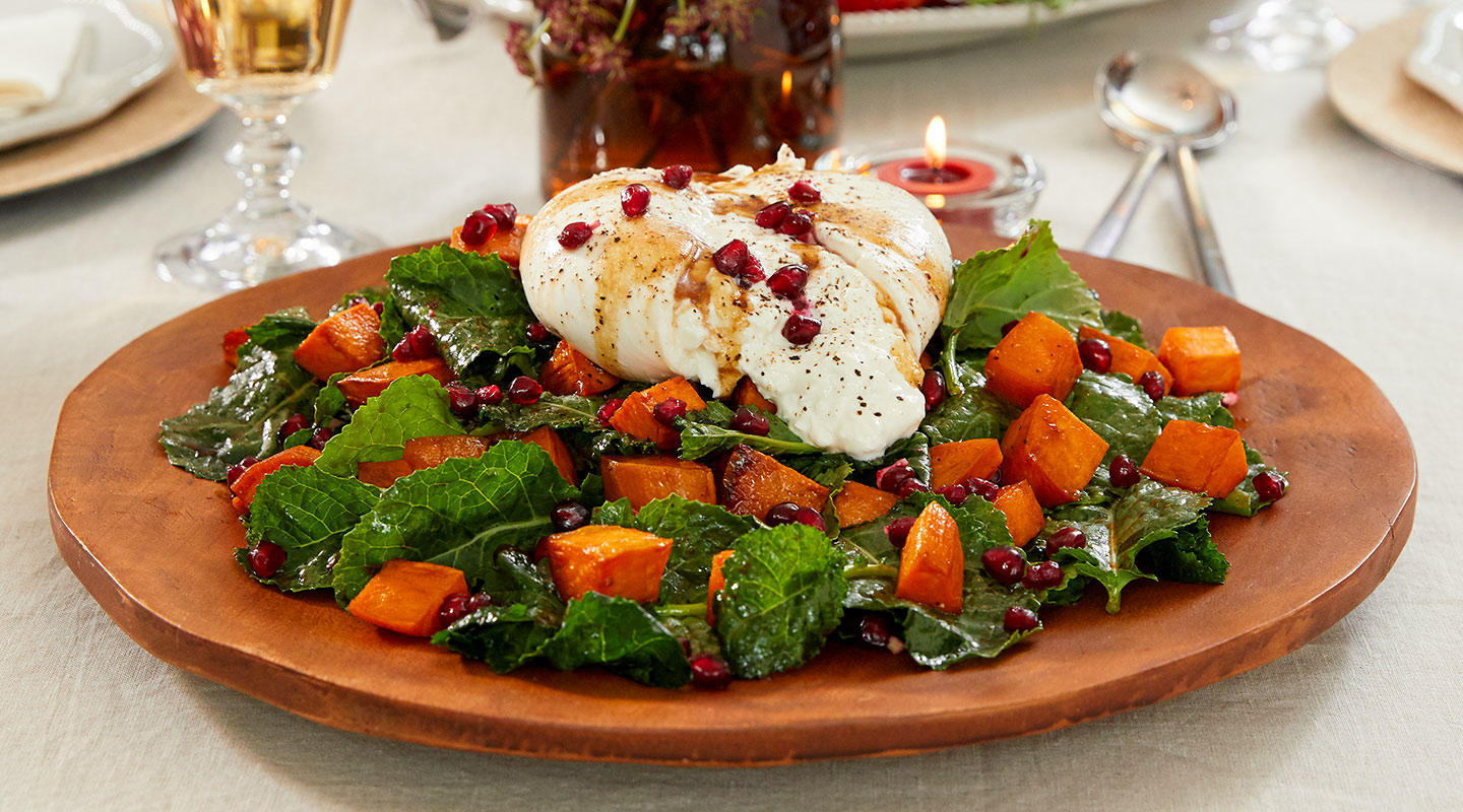 Wisconsin Cheese Roasted Sweet Potato and Burrata Salad Recipe