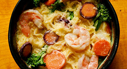 Parmesan and Shrimp Alfredo with Spaghetti Squash
