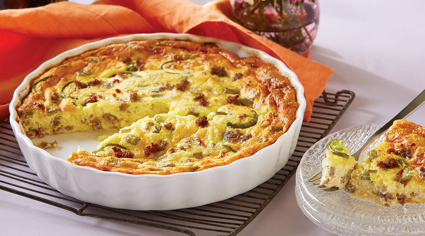 Wisconsin Cheese Spicy Southwest Crustless Quiche Recipe