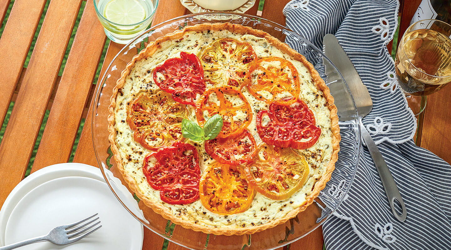 Triple-Cheese Tart with Heirloom Tomatoes