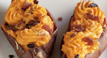 Twice-Baked Cheddar Sweet Potatoes