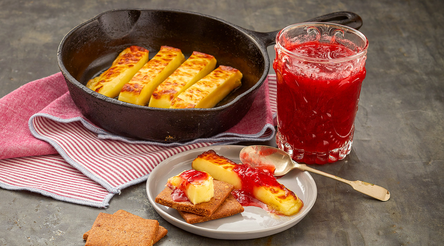 Wisconsin Cheese Warmed Juustoleipa with Strawberry-Rhubarb Jam recipe