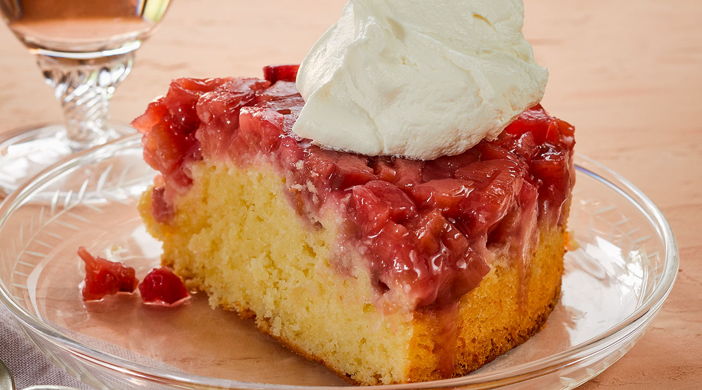 Wisconsin Cheese Aged Cheddar Rhubarb Upside-Down Cake Recipe