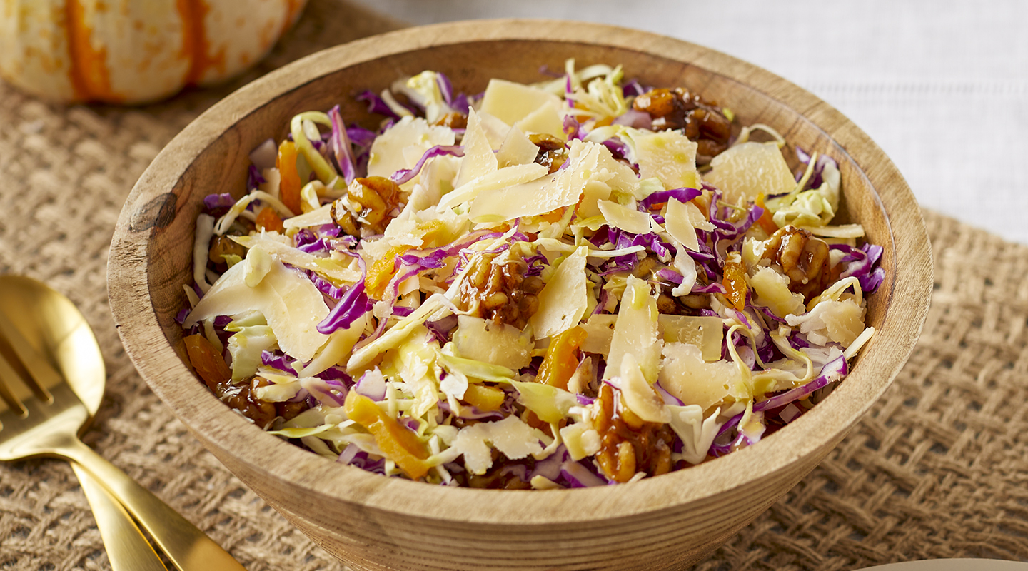 Wisconsin Cheese Balsamic Coleslaw with Candied Walnuts Recipe