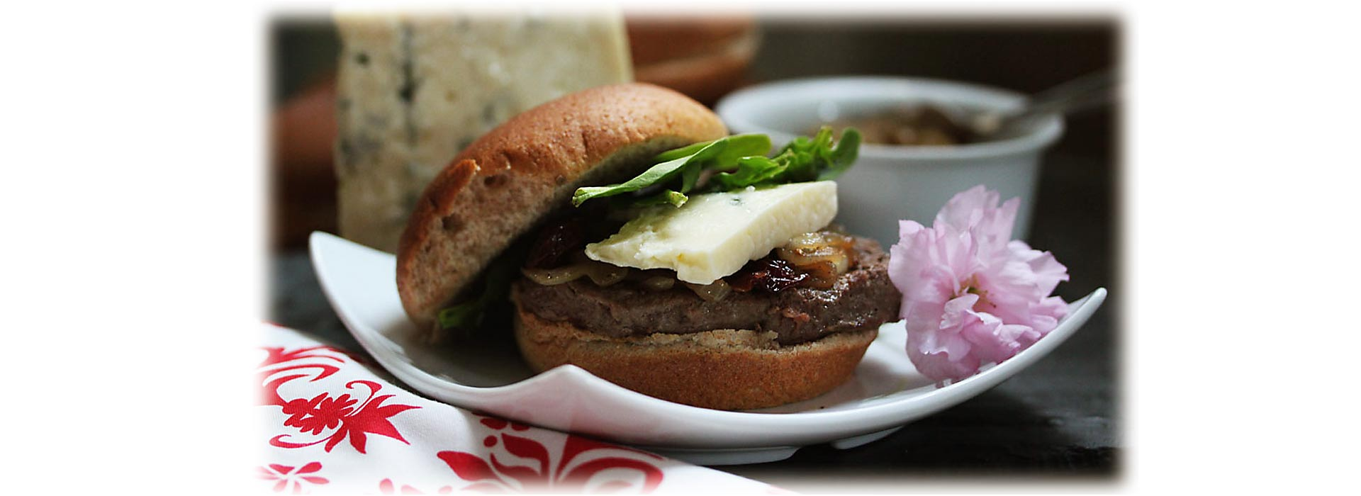 Blue Cheese Burger with Cherry-Onion Relish