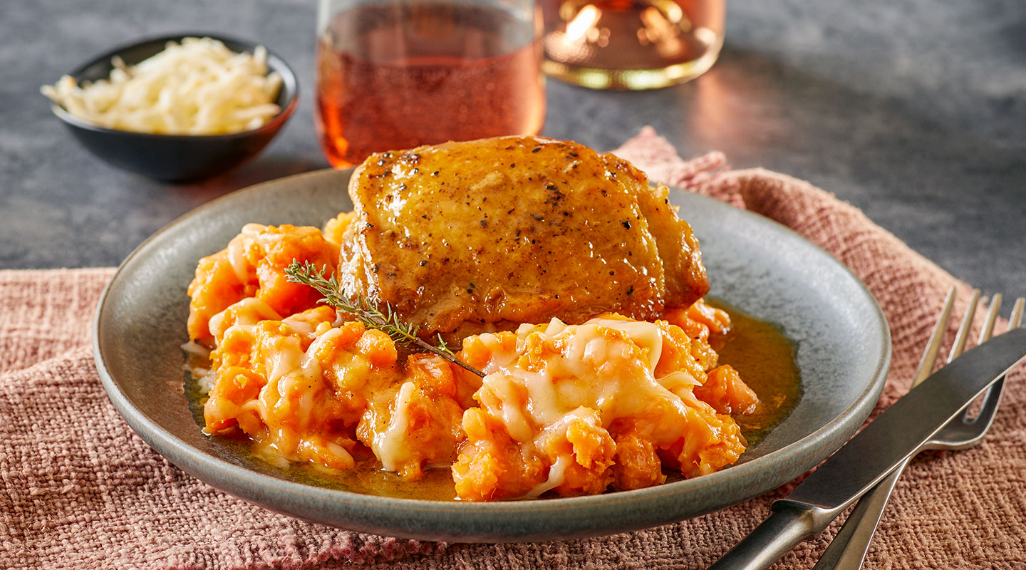 Wisconsin Cheese Cider-Braised Chicken with Gouda Sweet Potatoes Recipe