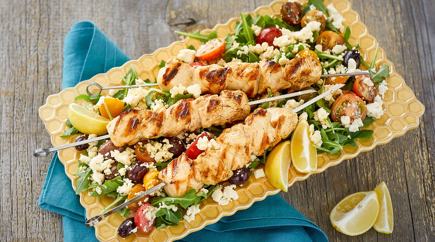 Wisconsin Cheese Feta-Brined Grilled Chicken Kabobs recipe