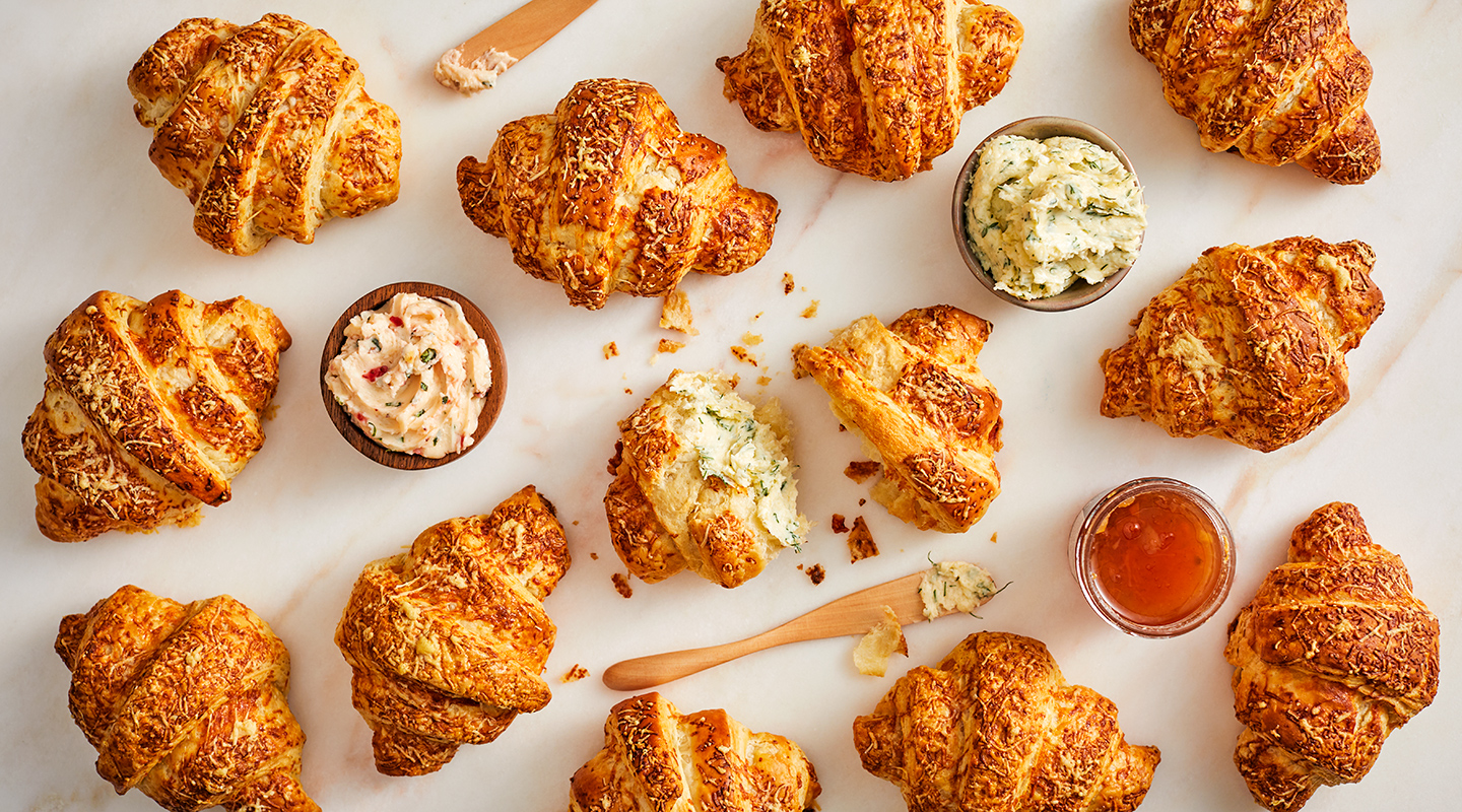 Wisconsin Cheese Flaky Croissants with Cheddar Gruyere Recipe