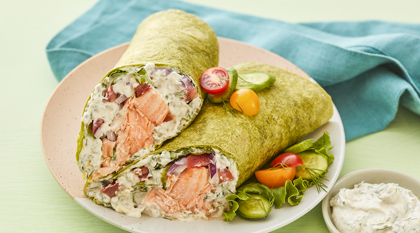 Wisconsin Cheese Grilled Salmon Wraps with Herbed Ricotta Recipe