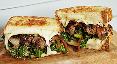 Kale, Sausage and Kasseri Grilled Cheese