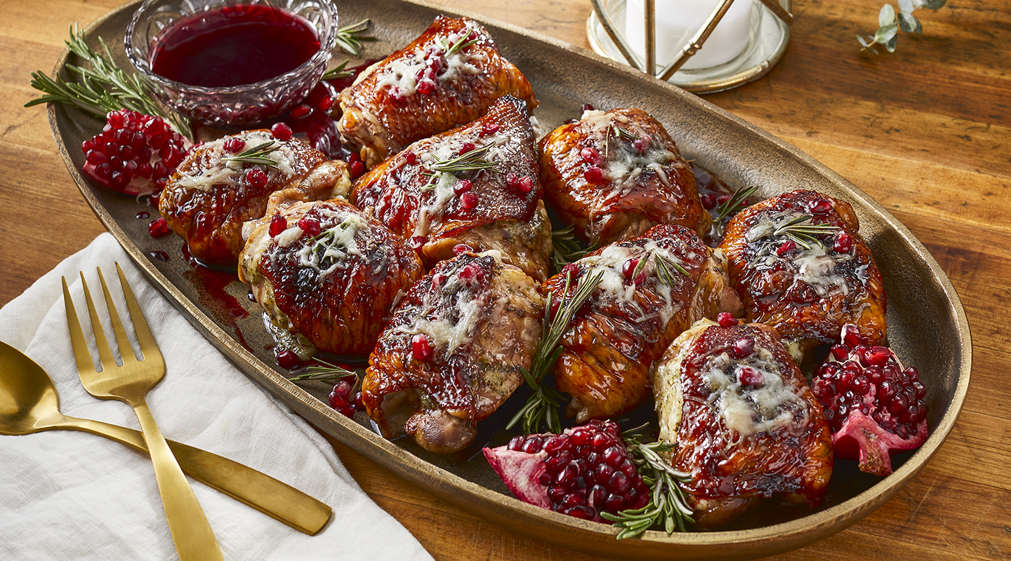 Wisconsin Cheese Pomegranate-Glazed Chicken Thighs with Fontina Recipe