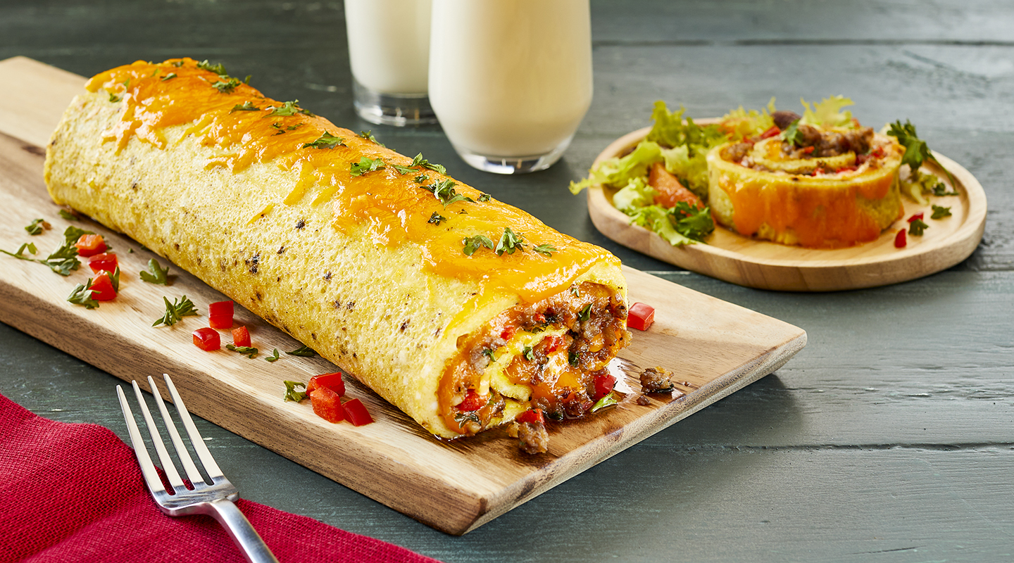 Wisconsin Cheese Sausage and Colby Cheese Omelet Roll Recipe