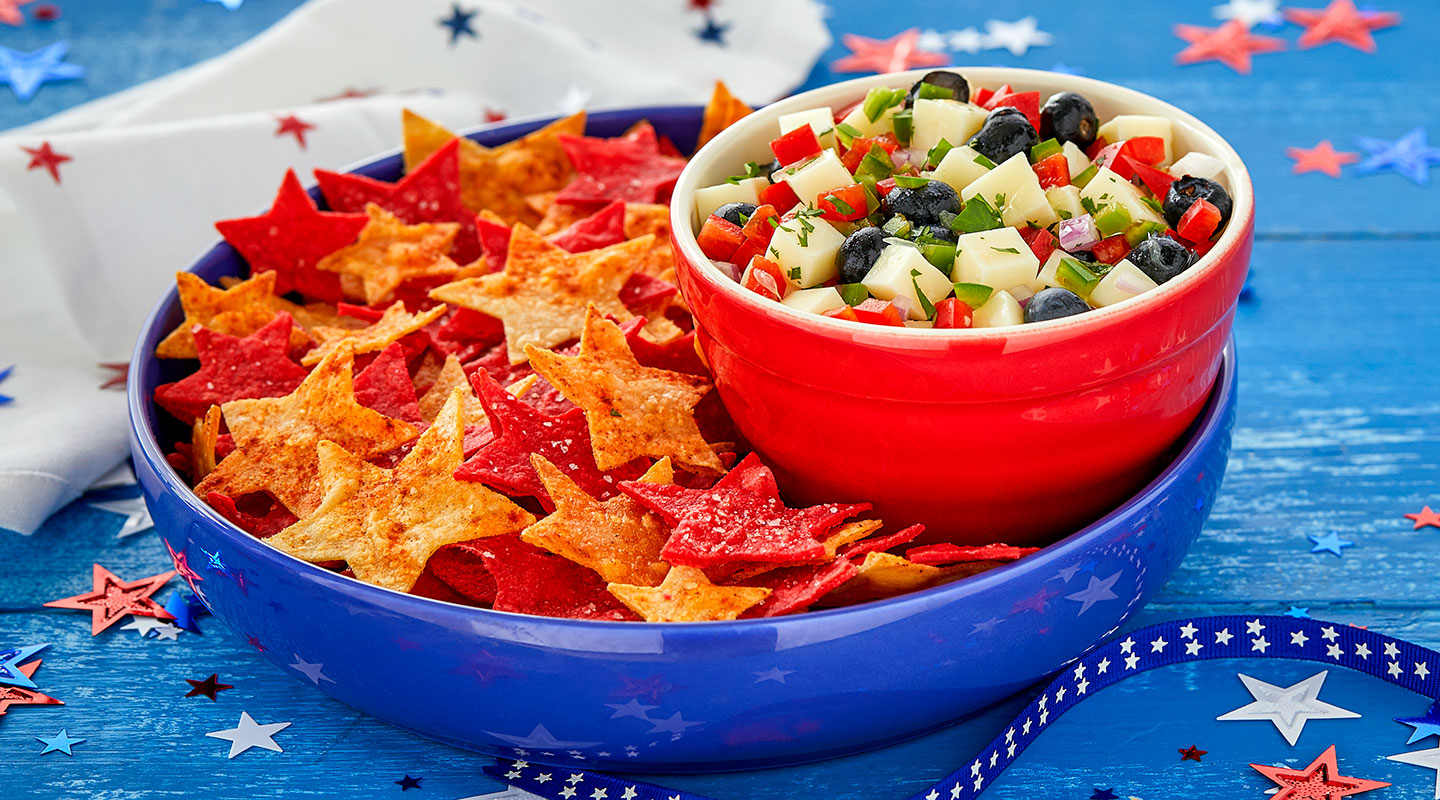 Wisconsin Cheese Star-Spangled Salsa and Chips Recipe