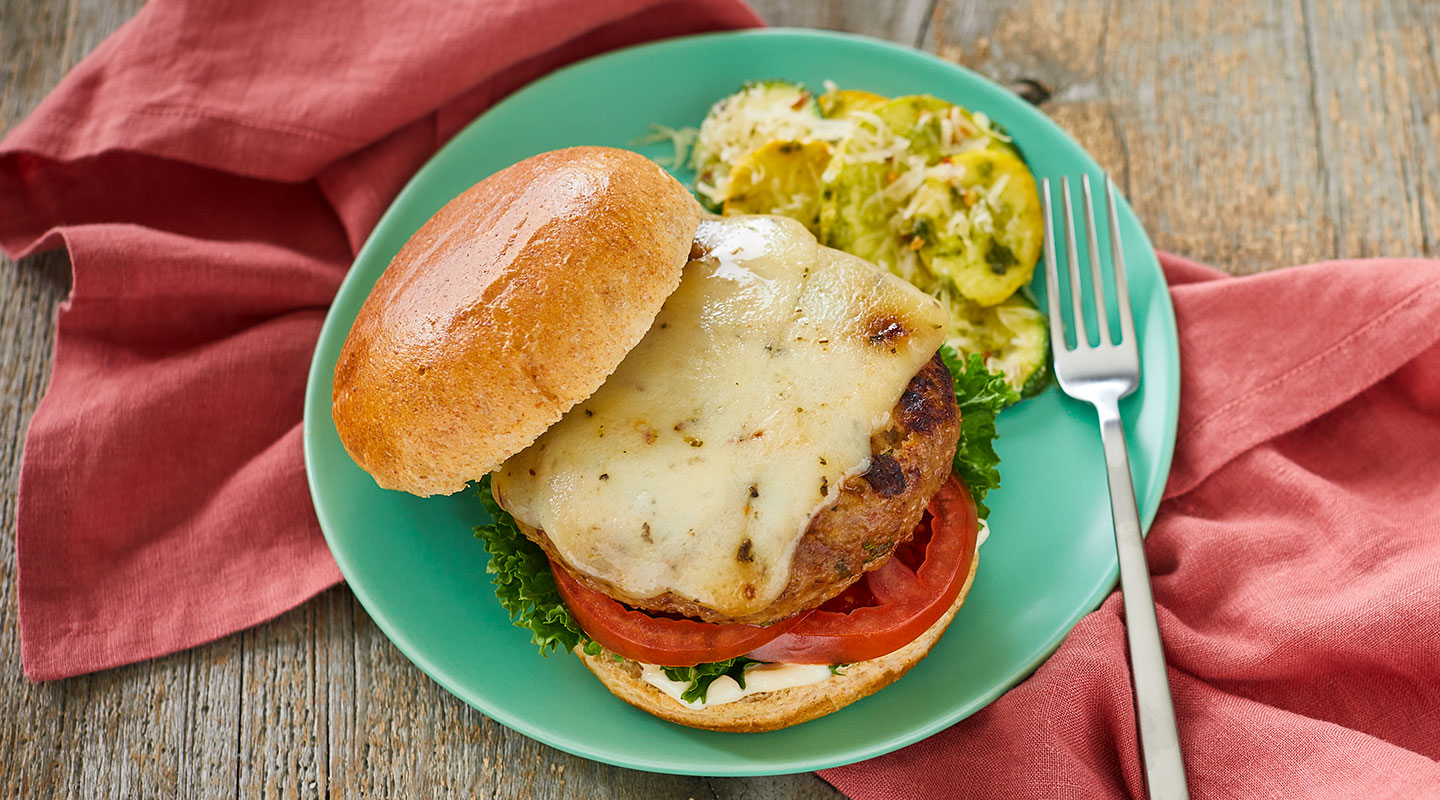 Wisconsin Cheese Tomato Basil Turkey Burgers recipe