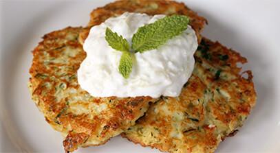 Zucchini Fritters with Mint, Dill and Feta Cheese